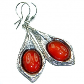 Sublime Orange Carnelian oxidized .925 Sterling Silver handmade earrings