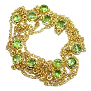 36 inches Genuine Peridot 14K Gold over .925 Sterling Silver Station handmade necklace