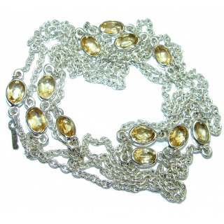 36 inches Citrine .925 Sterling Silver handmade Station Necklace