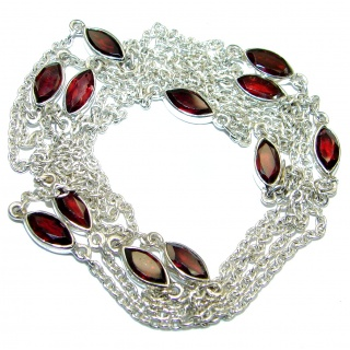 36 inches Genuine Garnet .925 Sterling Silver handmade Station necklace