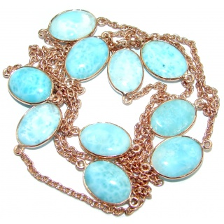 36 inches Genuine Larimar Stones Rose Gold over .925 Sterling Silver Handcrafted Station Necklace