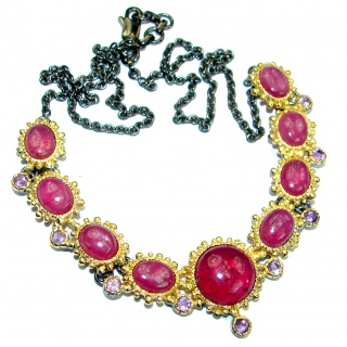 Authentic Ruby 14K Gold Rhodium over .925 Sterling Silver handmade Statement Necklace