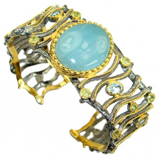 Huge Beautiful Fine Art Natural Aquamarine .925 Sterling Silver handmade bracelet