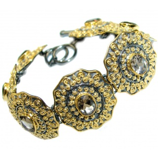 Cleopatra Smoky Topaz 14K Gold Rhodium over .925 Sterling Silver Bracelet