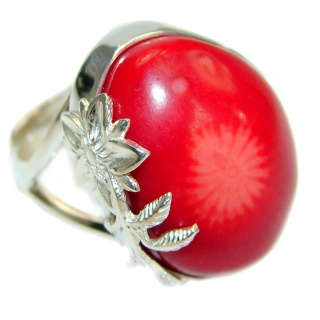 Natural Fossilized Coral two tones .925 Sterling Silver handmade ring s. 8 adjustable
