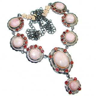 Genuine Argentinian Pink Opal Rose Gold Rhodium over . 925 Sterling Silver handcrafted necklace