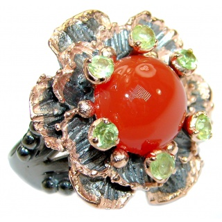 Genuine Carnelian Peridot Rose Gold over .925 Sterling Silver handmade Ring Size 9