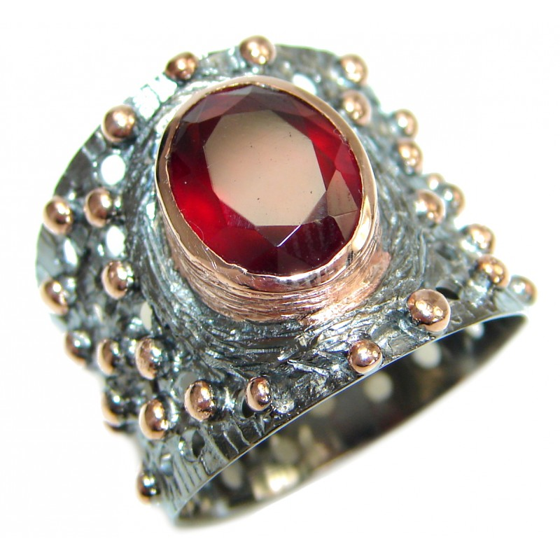 41b4a288f9b0a SilverRushStyle.com - Huge 25ct Genuine Ruby Rose Gold Rhodium over .925  Sterling Silver ring; s. 8 1/2