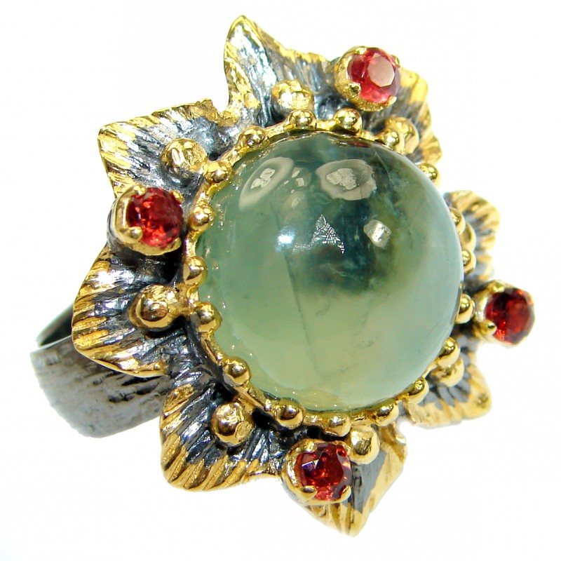 Supernova Green Moss Prehnite Gold Rhodium over .925Sterling Silver handcrafted ring; s. 7 adjustable