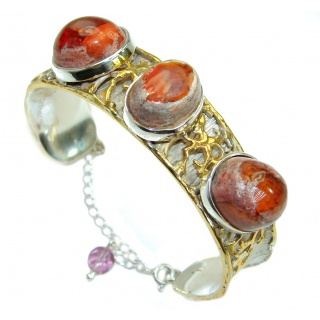 Bohemian Style Mexican Fire Opal 18k Gold Rhodium over .925 Sterling Silver Bracelet / Cuff