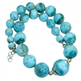 One of the kind Nature inspired Sublime Larimar .925 Sterling Silver handmade necklace