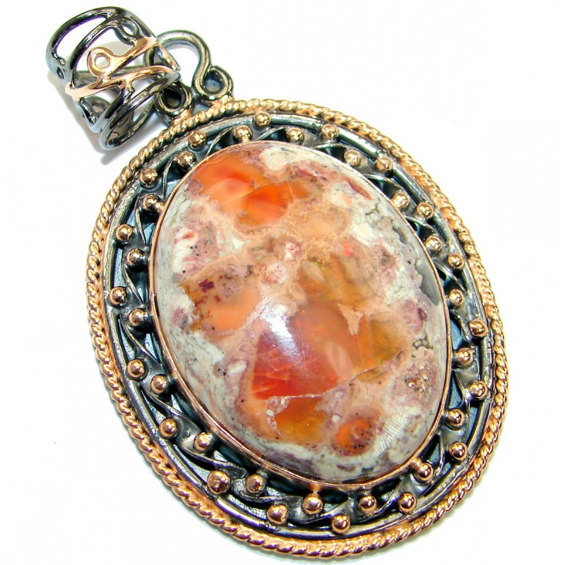 Vintage Design Mexican Fire Opal Rose Gold over .925 Sterling Silver handmade Pendant