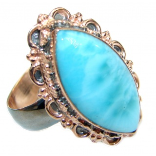 Genuine Larimar two tones .925 Sterling Silver handcrafted ring size 7 adjustable