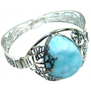 Authentic Larimar highly polished .925 Sterling Silver handmade Bracelet / Cuff