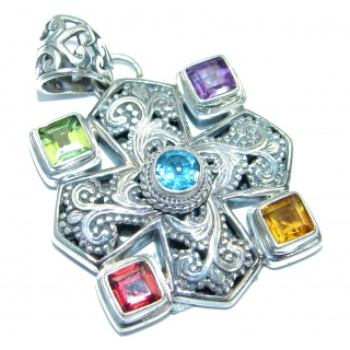 Large Aura Of Beauty Genuine Multigem .925 Sterling Silver Pendant