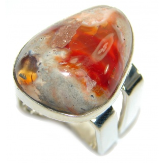 Huge Mexican Fire Opal .925 Sterling Silver handcrafted ring size 8