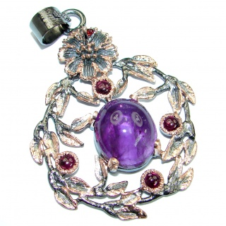 Rich Design Natural Amethyst Rose Gold over .925 Sterling Silver handmade Pendant