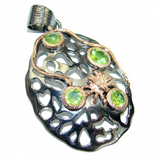 Unique design Peridot Gold Rhodium over .925 Sterling Silver handcrafted Pendant