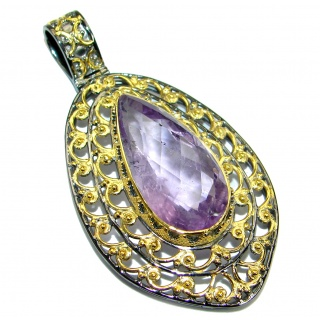 Rich Design Natural Amethyst 14K Gold over .925 Sterling Silver handmade Pendant