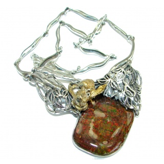 Golden Bee Natural Canadian Ammolite Gold Rhodium over .925 Sterling Silver handmade necklace