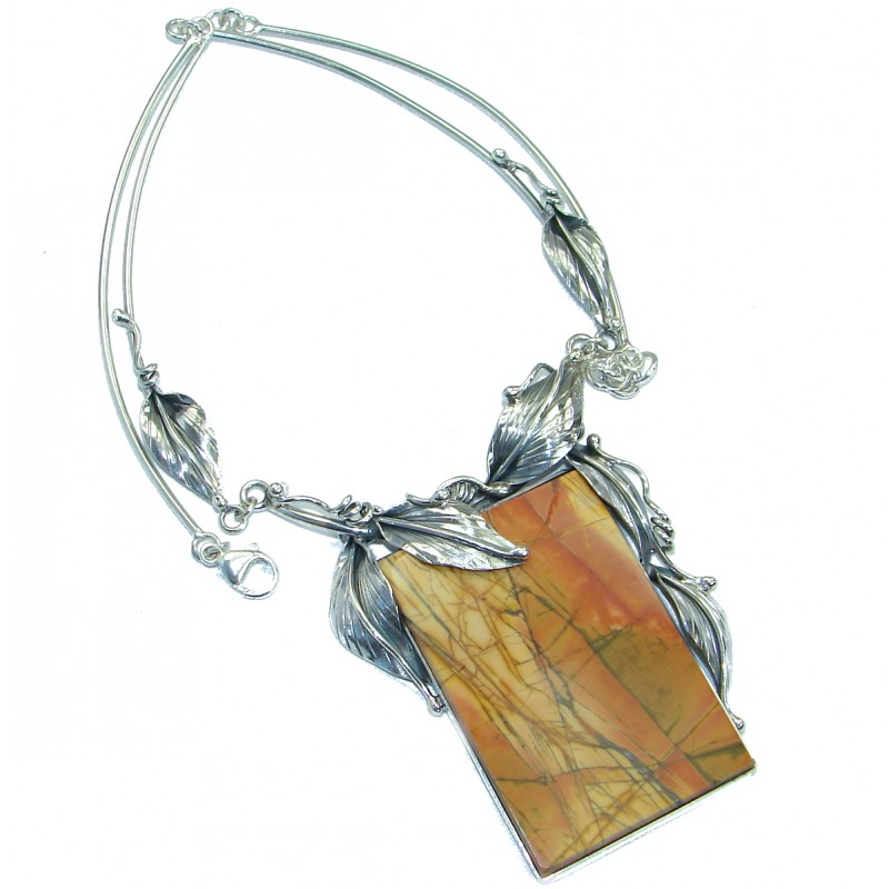 True ART Huge genuine Morrisonite oxidized .925 Sterling Silver handmade necklace