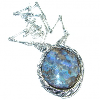 Genuine Australian Boulder Opal .925 Sterling Silver brilliantly handcrafted necklace