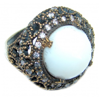 Large Victorian Style created Quartz White Topaz Sterling Silver ring; s. 8