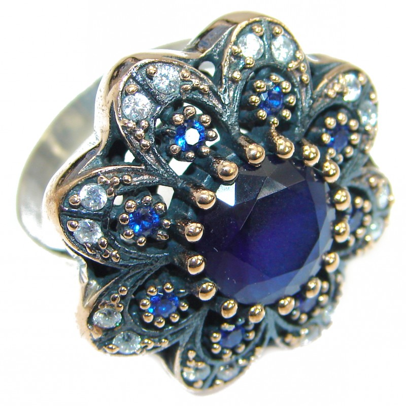 Created Blue Sapphire & White topaz Sterling Silver Ring s. 9 1/4