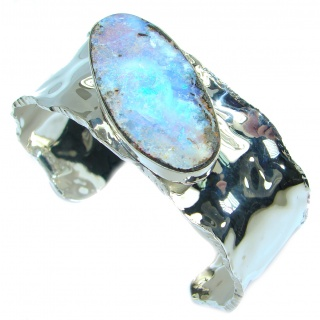 Norwegian Northern Lights Boulder Opal hammered .925 Sterling Silver Bracelet / Cuff
