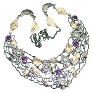 Great genuine Amethyst 18K Gold Rhodium over .925 Sterling Silver handmade Necklace
