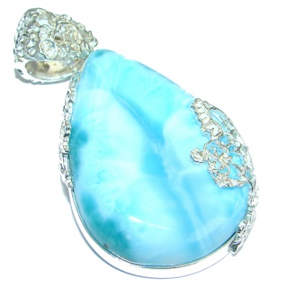 Best Quality Genuine 106ct Larimar .925 Sterling Silver handmade pendant