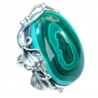 Sublime quality Malachite .925 Sterling Silver handcrafted ring size 7 adjustable