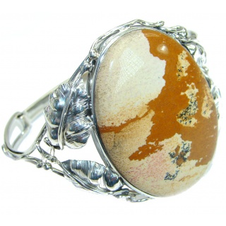 Incredible genuine Picture Jasper .925 Sterling Silver handcrafted Bracelet