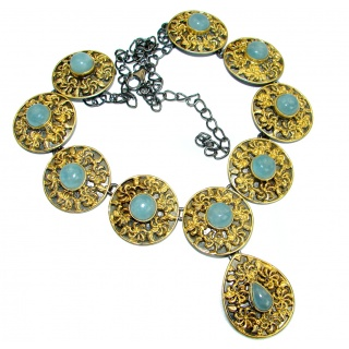 Byzantine Style Aquamarine 14K Gold over .925 Sterling Silver handcrafted necklace