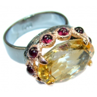 Genuine Citrine .925 Sterling Silver Cocktail Ring size 7