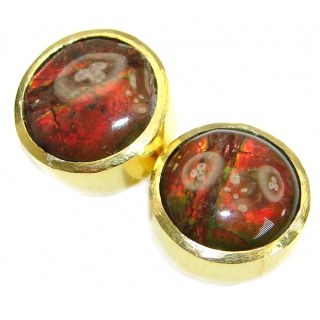Red Aura Fire Ammolite gold over .925 Sterling Silver handmade 5 mm stud earrings