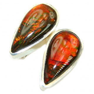 Red Aura Fire Ammolite gold over .925 Sterling Silver handmade stud earrings