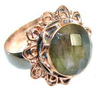 Silky Labradorite .925 Sterling Silver handmade Ring s. 7 adjustable