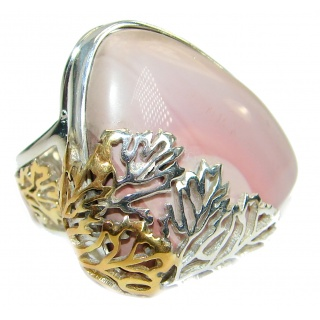 Authentic Pink Opal Two Tones .925 Sterling Silver handmade Ring s. 7 adjustable