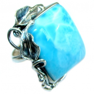 Genuine Larimar .925 Sterling Silver handcrafted ring size 8 adjustable