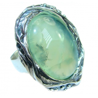 Huge Natural Prehnite .925 Sterling Silver handcrafted Ring Size 7 adjustable