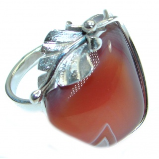 Genuine Botswana Agate .925 Sterling Silver handmade Ring Size 6 adjustable