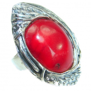 Jumbo Gorgeous natural Fossilized Coral Sterling Silver ring s. 7 adjustable