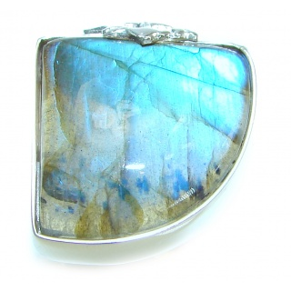 Blue Fire Labradorite .925 Sterling Silver handmade ring size 6 1/4
