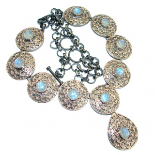 Byzantine Style Fire Moonstone 14K Gold over .925 Sterling Silver handcrafted necklace