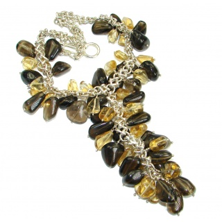 Giant Bohemian Style Champagne Smoky Topaz Citrine .925 Sterling Silver handmade necklace