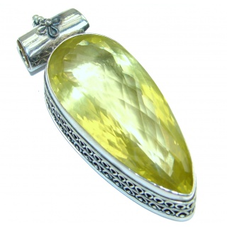 Vintage Design 108CT Genuine Lemon Quartz .925 Sterling Silver handcrafted pendant