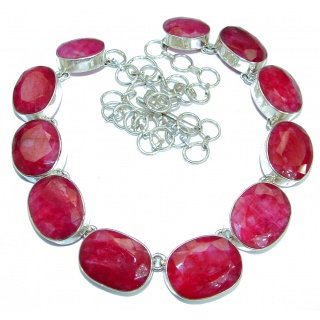 Ruby .925 Sterling Silver handmade Statement Necklace