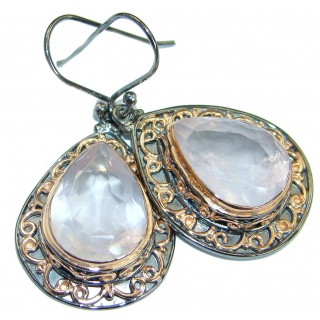 Enchanted Garden genuine Rose Quartz Gold over .925 Sterling Silver handmade earrings