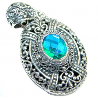 Royal Aqua Magic Topaz .925 Sterling Silver handmade Pendant